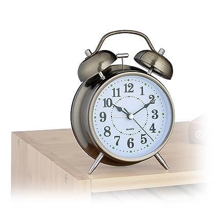 Relaxdays Reloj Despertador Vintage, Metal, Cobre, 6.5x12x17 cm