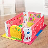 EVA Safety Mat And Baby Playpen with Door - Rectangle Interactive Play Room 1.6 x 1m - Pink