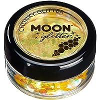 Brillo Iridiscente Grueso por Moon Glitter – 100% Brillo Cosmético para la Cara, Cuerpo, Uñas, Cabello y Labios - 3g - Amarillo