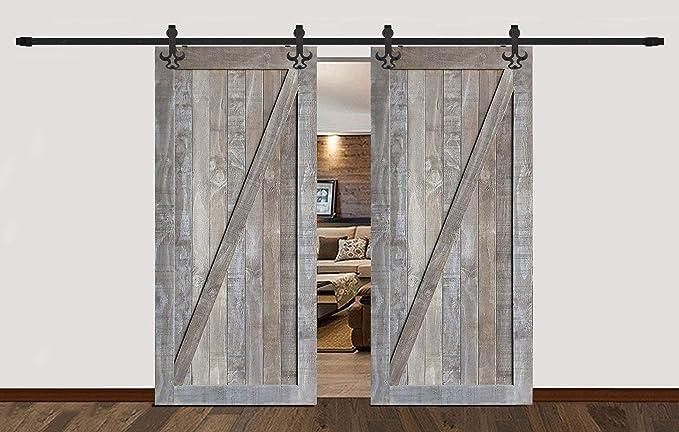 Estilo de país de América Tauren doble negro deslizante rodillos granero puerta de madera pista Kit de Hardware: Amazon.es: Bricolaje y herramientas