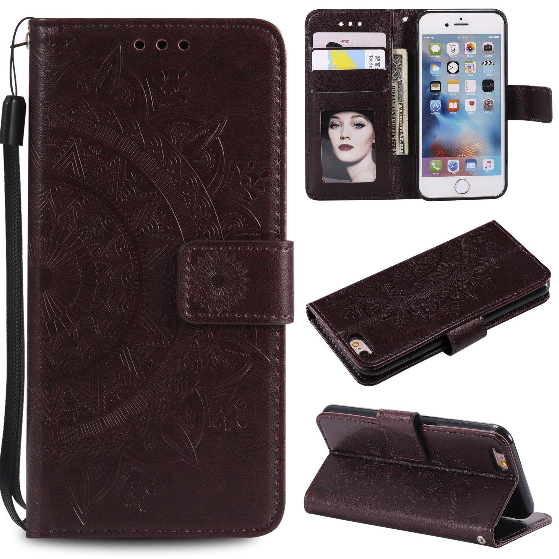 Floral Wallet Case for iPhone 7 4.7'',Strap Flip Case for iPhone 8 4.7'',Leecase Embossed Totem Flower Design Pu Leather Bookstyle Stand Flip Case for iPhone 7/8 4.7''-Brown