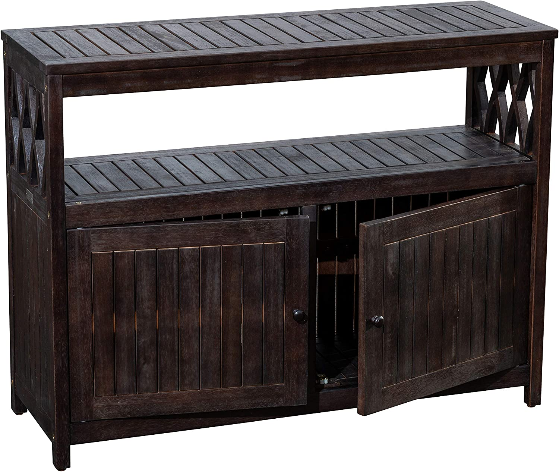 DTY Outdoor Living Longs Peak Eucalyptus Sideboard, Outdoor Living Patio Furniture Collection - Espresso
