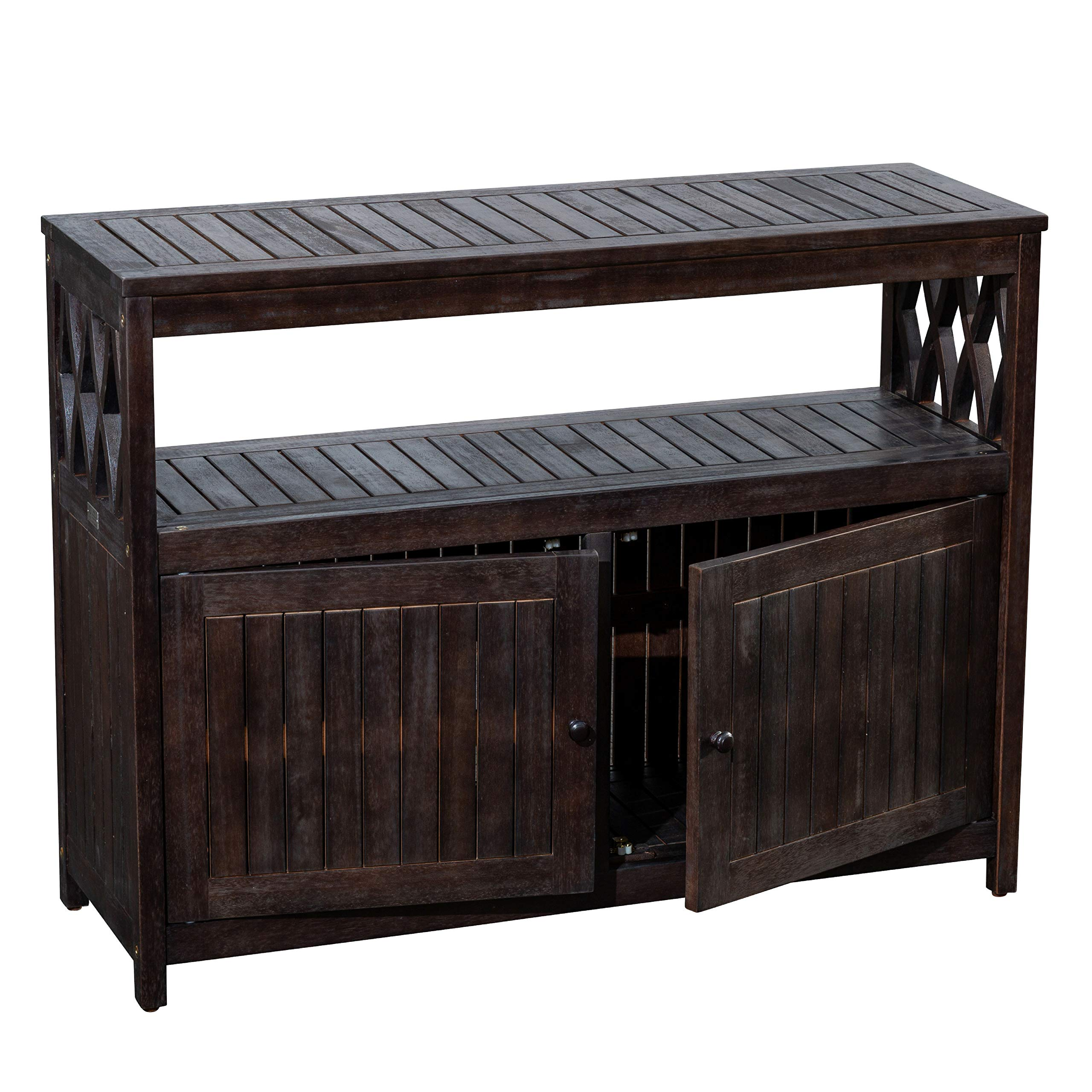 DTY Outdoor Living Longs Peak Eucalyptus Sideboard, Outdoor Living Patio Furniture Collection - Espresso by DTY