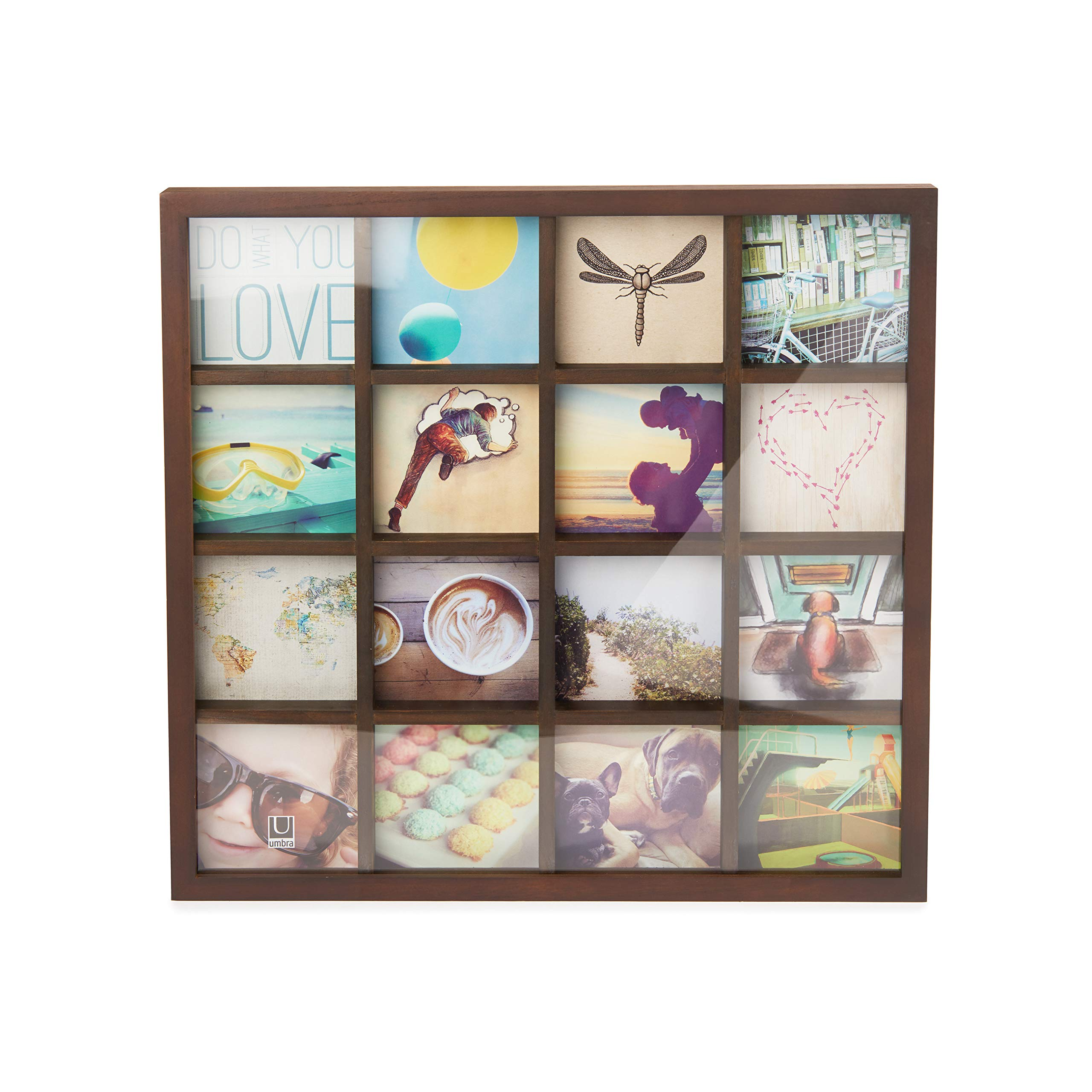 Umbra Gridart 4x4 Picture Frame - DIY Gallery Style Multi Picture Photo Collage Frame, Displays 16 Square 4 by 4 inch Photos, Illustrations, Art, Graphic Text & More, Walnut by Umbra