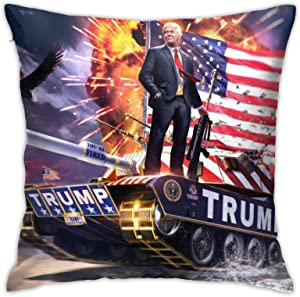 Wolla-ST Trump Tank Throw Pillow Covers 18x18inches Home Decor Pillowcase Cushion Covers for Sofa Bedroom Livingroom