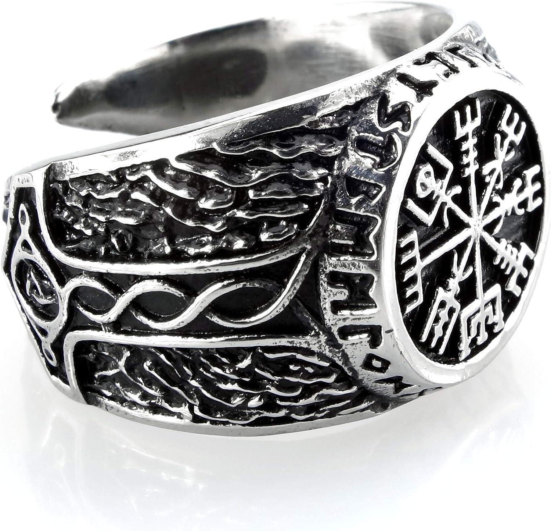 Acero inoxidable Vikingo Anillo vegvisir en Rune circular