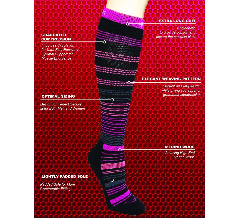 fee79ffeb8276 Circular 20-30 mmhg Merino Wool Graduated Compression Socks Men Women  Running, Maternity Pregnancy, Swollen Legs Feet, DVT, Air Flight, Diabetic,  Arthritis, ...
