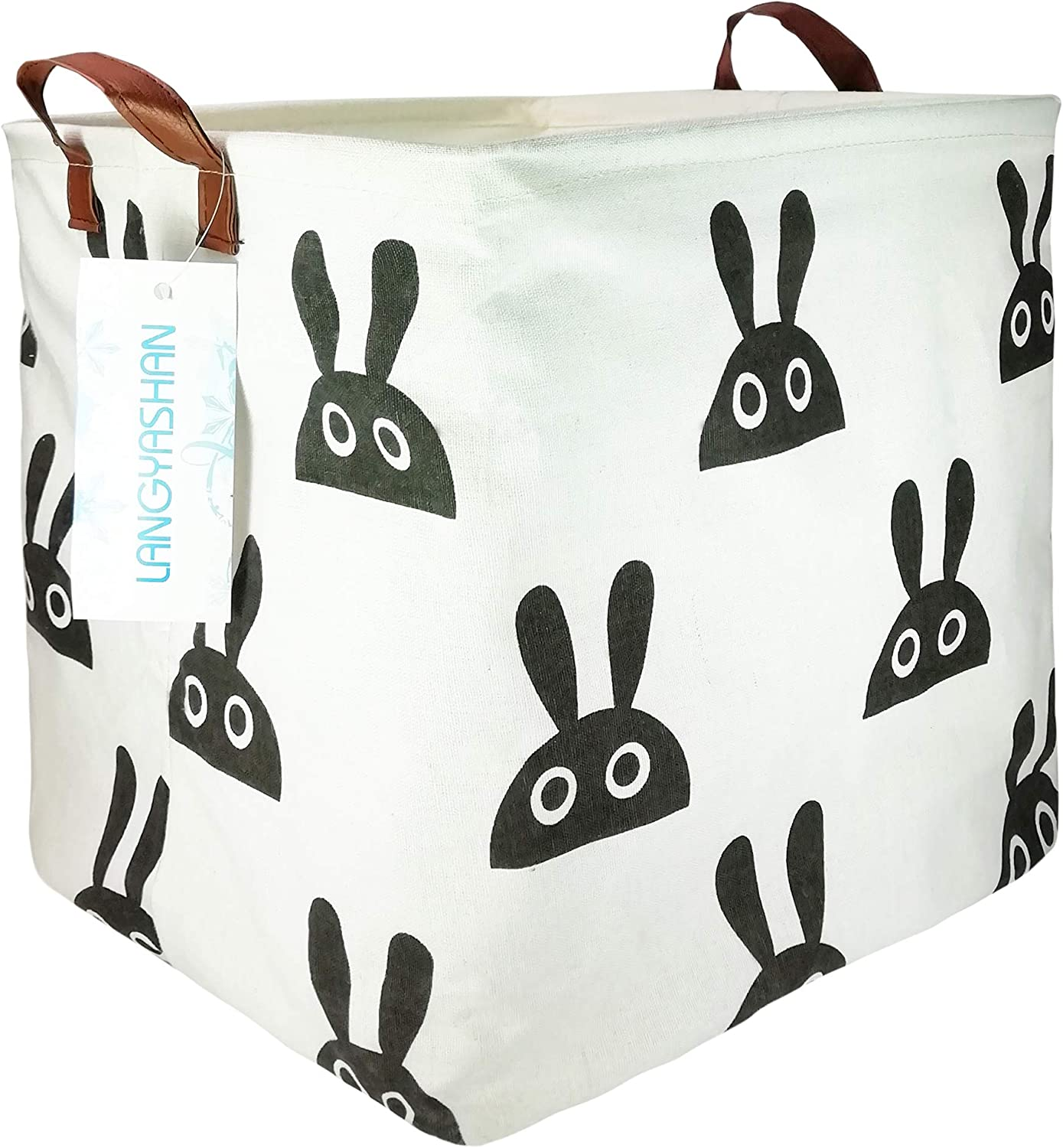 LANGYASHAN Square Storage Bins Waterproof Canvas Kids Laundry/Nursery Boxes for Shelves/Gift Baskets/Baby Shower Basket/Toy Organizer/Baby Room Decor(Bunny)
