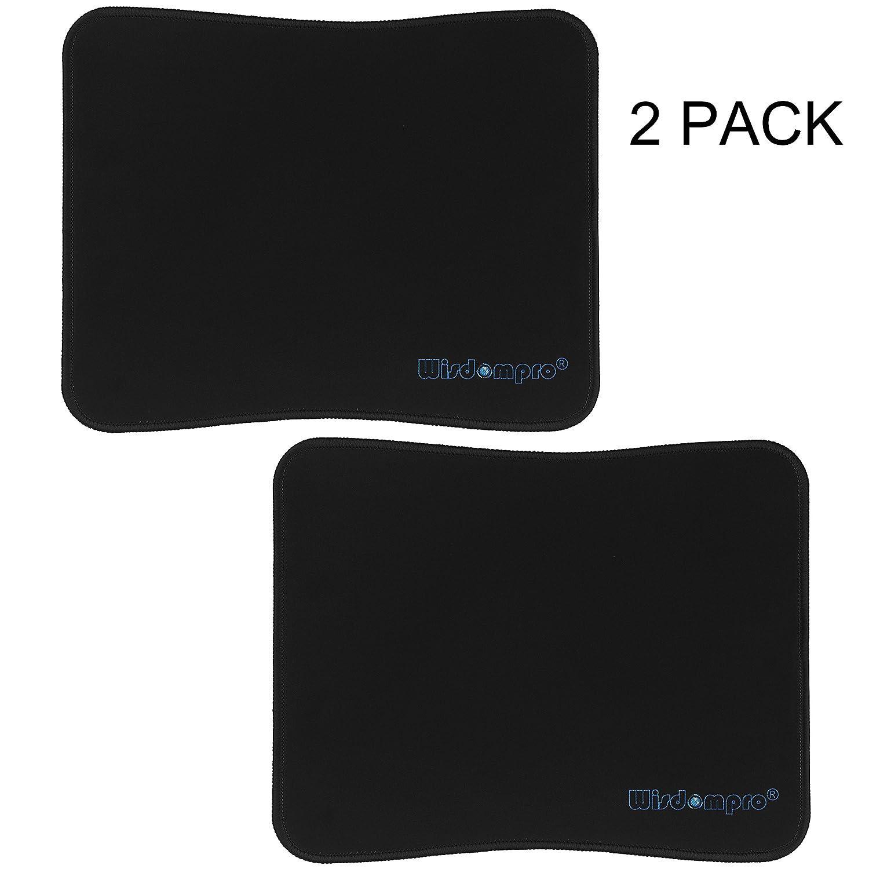Black // Black Edge tappetino per il mouse 2 Pack dimensioni 20,8/x 25,8/cm ultra sottile Wisdompro con bordi cuciti di colore nero antiscivolo