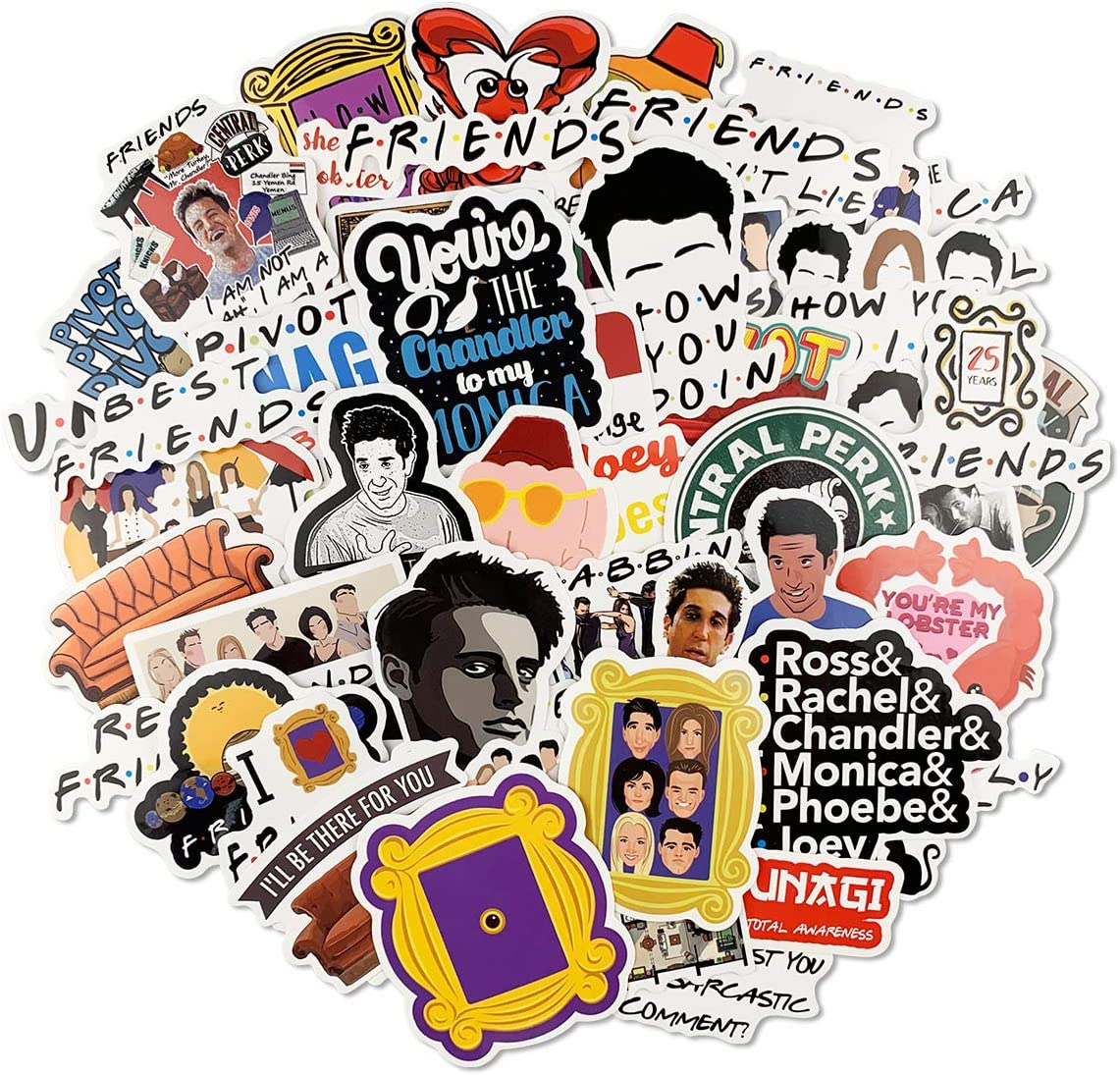 50pcs Friends TV Show Stickers for Laptop Water Bottle Hydro Flasks Skateboard Vinyl Computer Stickers for Teens Kids Adult