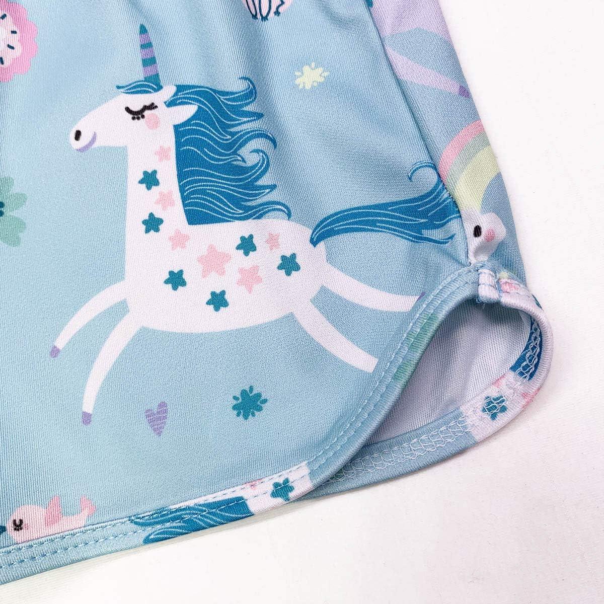 ModaIOO Ragazze Unicorno Dinosauro Sirena Farfalla Manica Corta per Bambini 2 Pezzi Pigiama Set