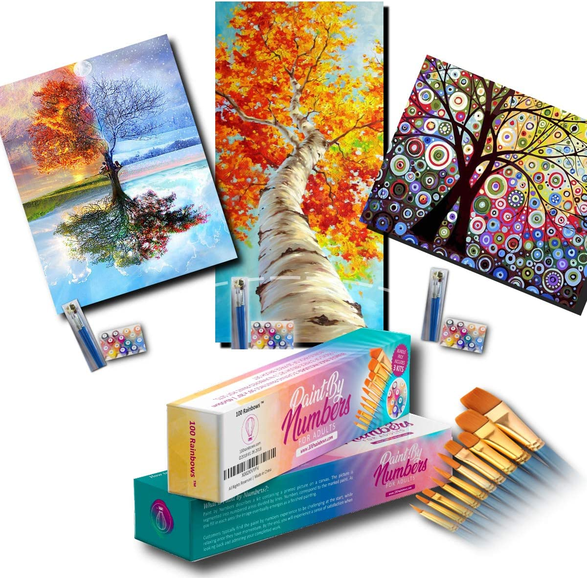 100 Rainbows Paint by Numbers for Adults. Large Beginner Kits (3 PACK) best for Adult who enjoys Painting by Number Activities. Custom Kit contains 3 Tree DIY Canvas Print and Paintings (16
