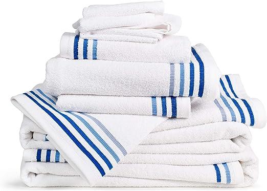 2 teli bagno 70x140 Bianco 2 Asciugamani Ospite 30x50 2 Asciugamani 50x100 Set 10 Pezzi Spugna Bassetti: 4 Lavette 30x30