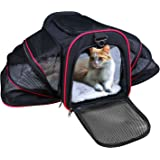 Airline Approved Pet Carrier, TAOTENK Foldable Dog Travel Carrier with Pocket and Removable Mat – Two Side Expandable Extra Spacious Soft Sided Animal Cat Carrier