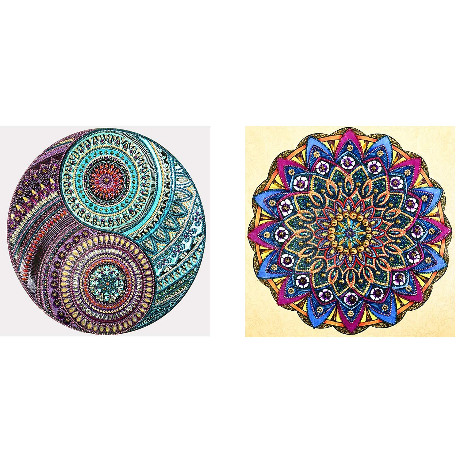 2 Pack 5D DIY Diamond Painting Set Special Shaped Diamond Painting Mandala Flower Rhinestone Diamond Embroidery Paintings Home Wall Decor for Bedroom Study Room(16''x16'')