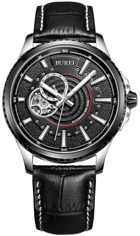Burei® Revolution Analog 24 Stunde Display Japanische Automatische Armbanduhr Armbanduhr mit schwarz Kalbsleder
