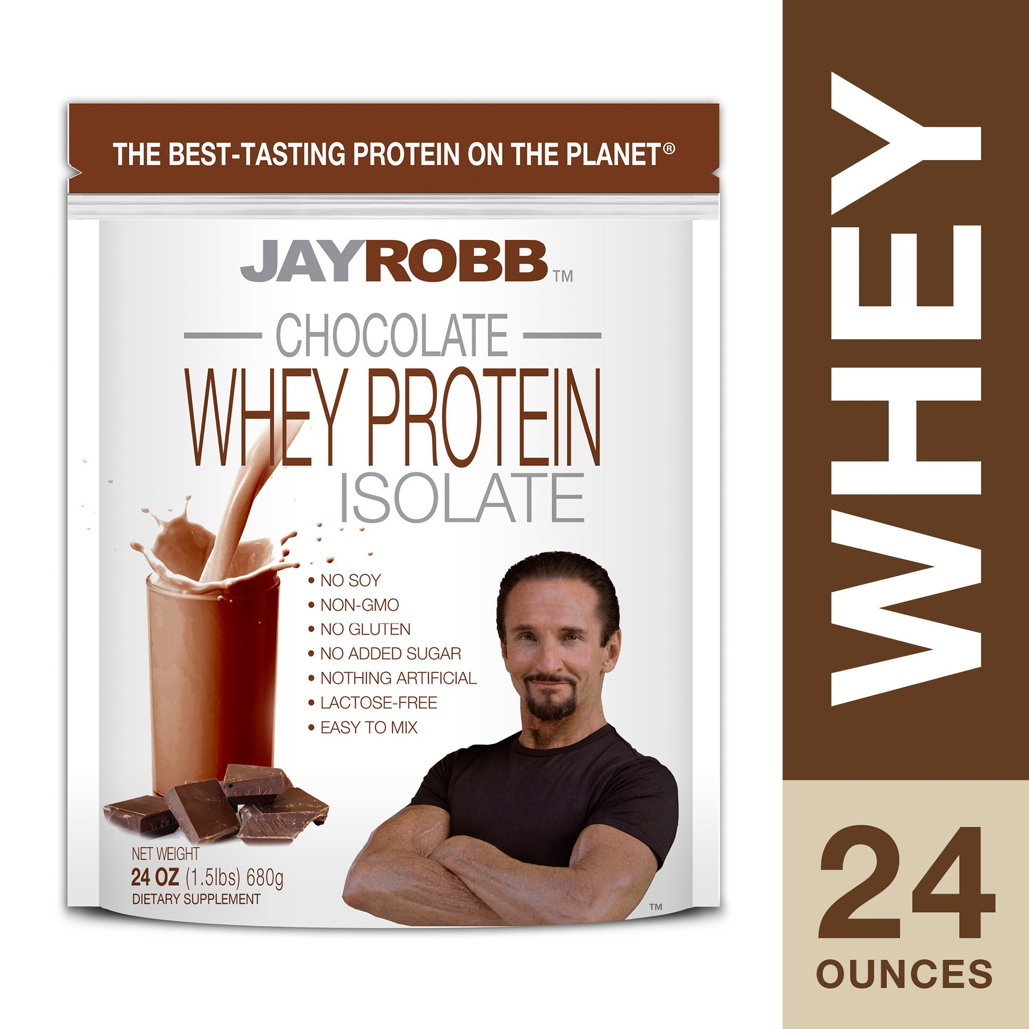 Jay Robb - Grass-Fed Whey Protein Isolate Powder, Outrageously Delicious, Chocolate, 23 Servings (24 oz) by Jay Robb