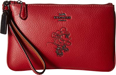 c3eed45281d03d COACH Women's Box Program Minnie Mouse Motif Small Wristlet ¿Disney x COACH  Dk/1941 Red One Size : Handbags: Amazon.com