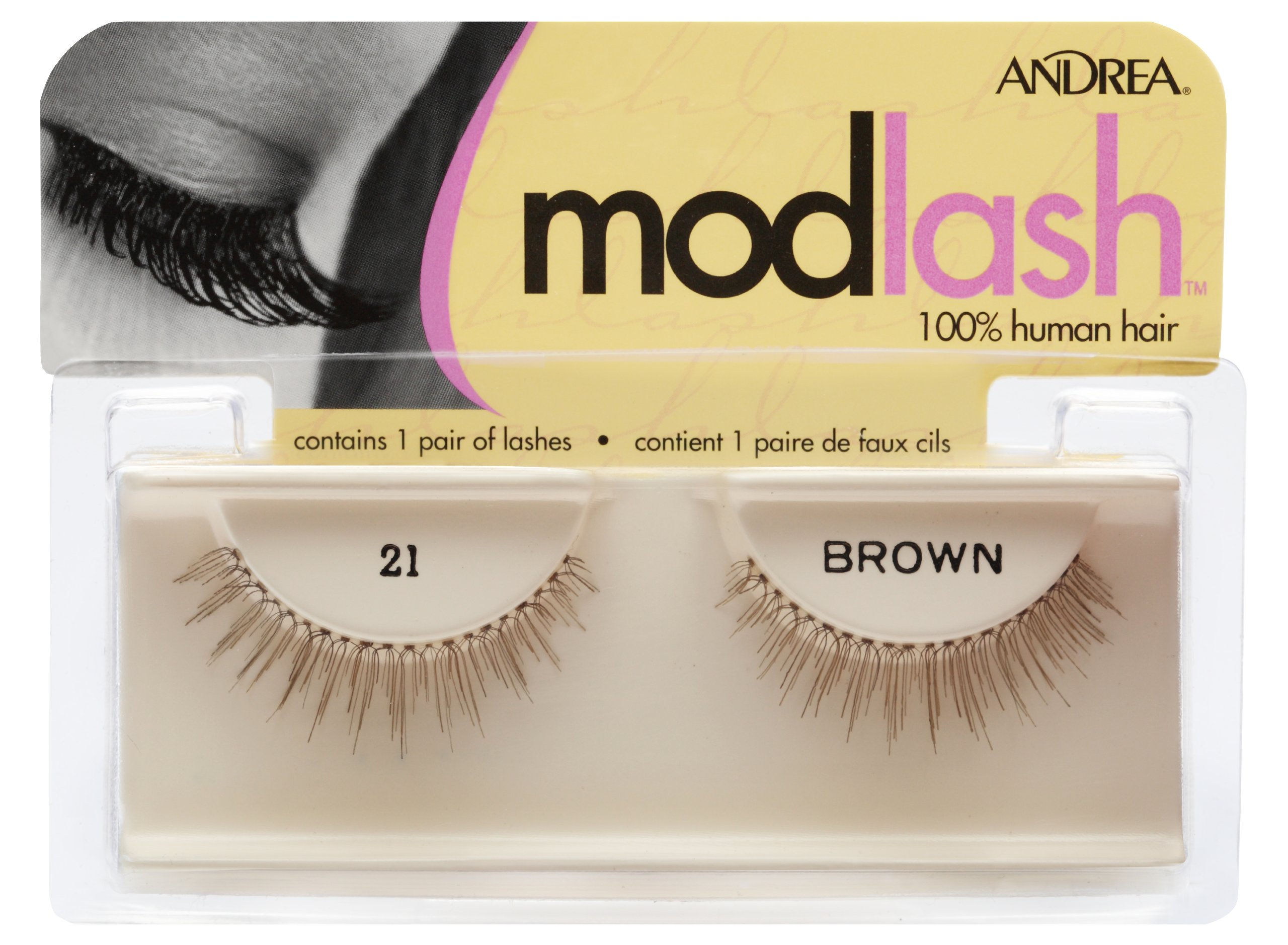 Andrea Mod Strip Lash Pair Style 21 Brown (Pack of 4)