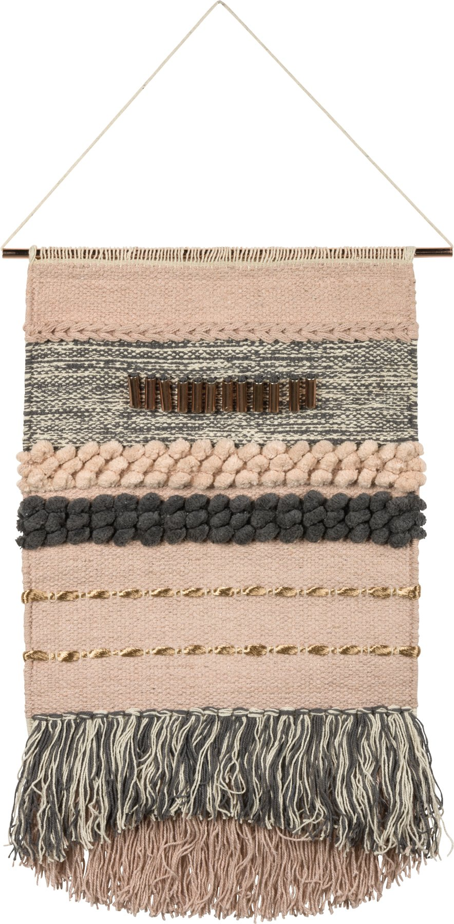 Primitives by Kathy Inspire 14-Inch-by-23-Inch Cotton and Metal Woven Wall Hanging, Pink and Grey by Primitives by Kathy
