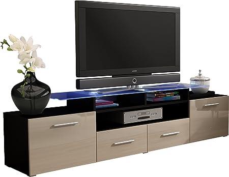 JUSTyou Evoro Mueble para TV Mesa televisión salón 194 cm Color: Negro Crema: Amazon.es: Hogar