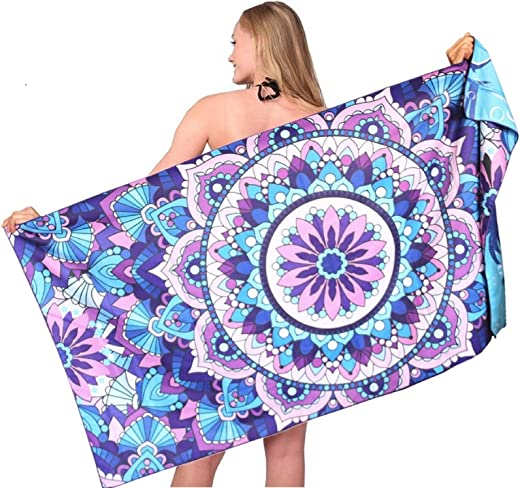 Mandala Thin Sand Free Beach Towel-Quick Fast Dry Super Absorbent Oversized Large Towels Blanket for Travel Pool Swimming Bath Camping Yoga Girls Women Men Adults Palm Tree Blue