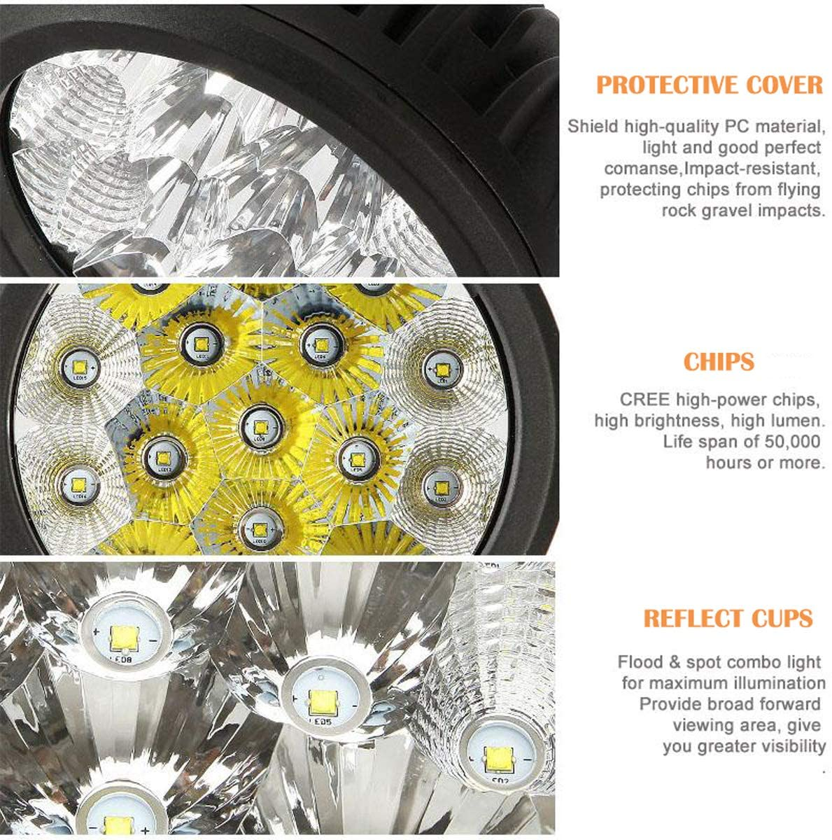 "Auxbeam 2Pcs 7"" LED Driving Light 80w Round LED Off-Road Light Bar 8000lm Combo Beams for Jeep ATV UTV Golf cart Lighting Trucks Pickup Ford f150 Work Light: Automotive"