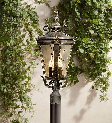 Casa Marseille Traditional Outdoor Post Light Fixture Mediterranean Veranda Bronze 4 Light 25 Champagne Hammered Glass for Exterior House Garden Yard Patio Porch Deck – John Timberland