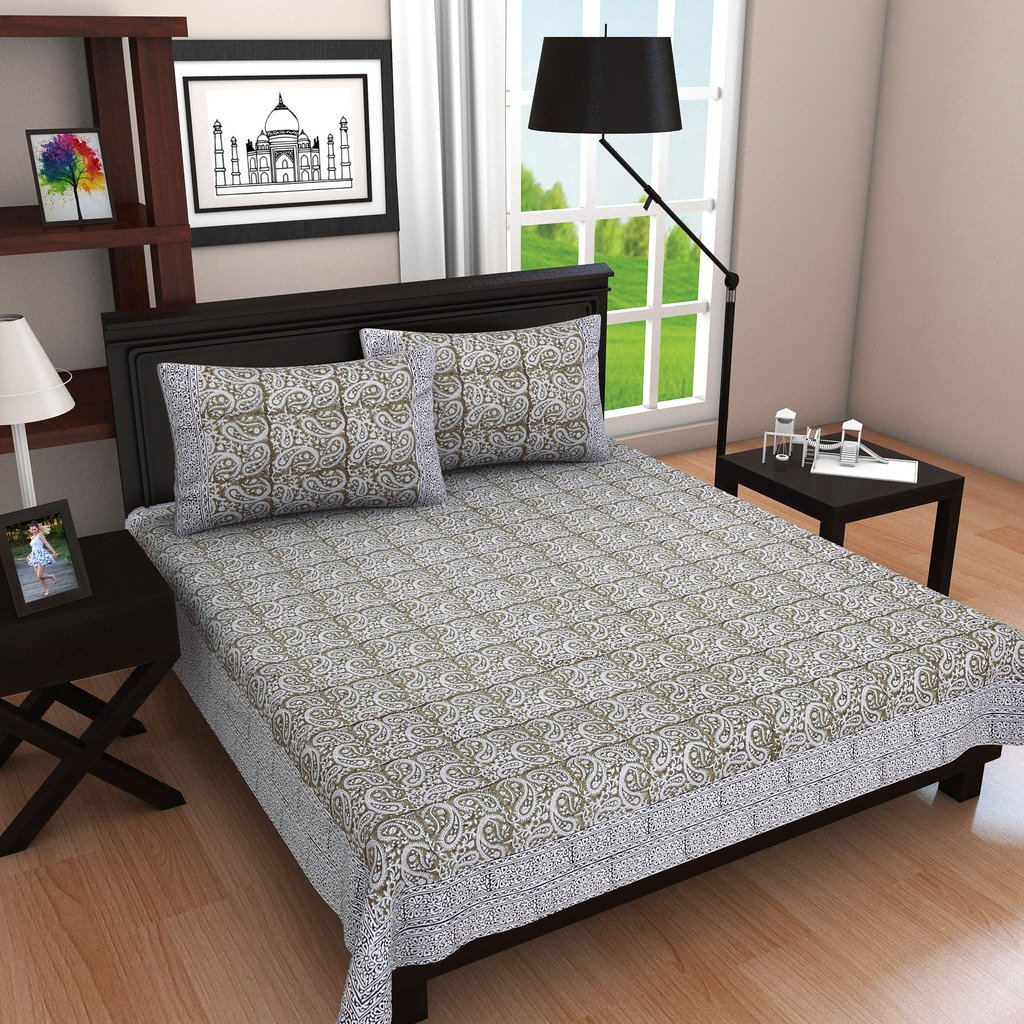 Indigenous Handicrafts Hand Block Printed Double Cotton Floral Bed Sheet