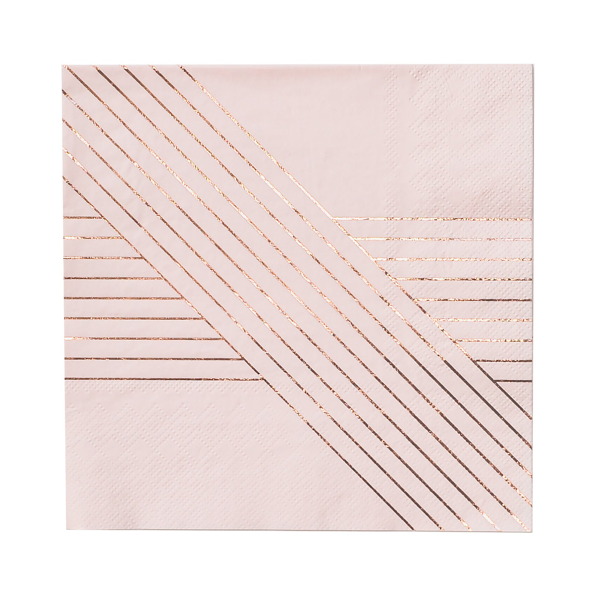 Harlow & Grey Pale Pink w Rose Gold Striped Lunch Paper Napkins - Birthday, Wedding, Showers Party Napkins Amethyst (20 Count) by Harlow & Grey