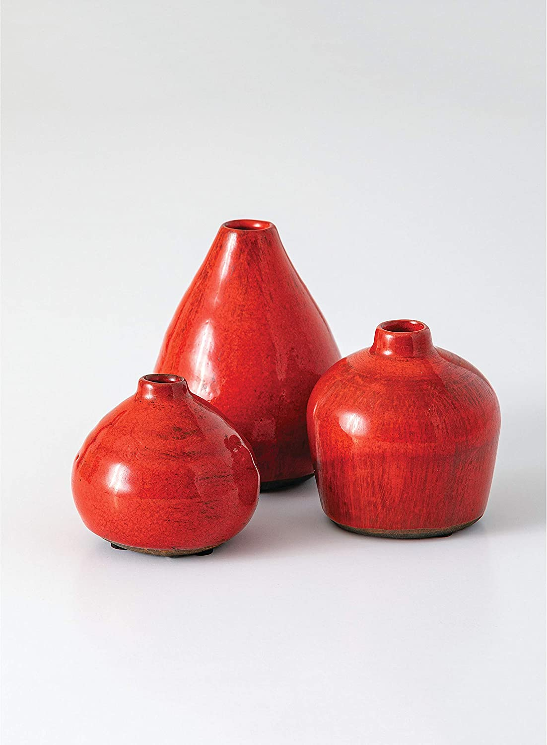 Sullivans Small Ceramic Vase Set, Various Sizes, Red-Orange, Set of 3 (CM2038)
