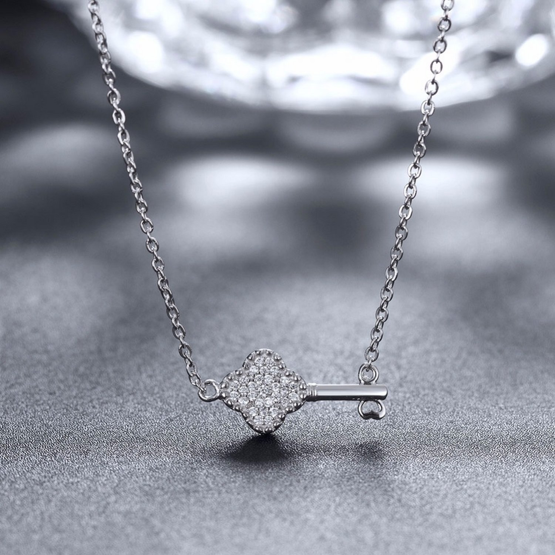 MMC Clover Key Sparkle Cubic Zircon Stone Silver Pendants Necklaces