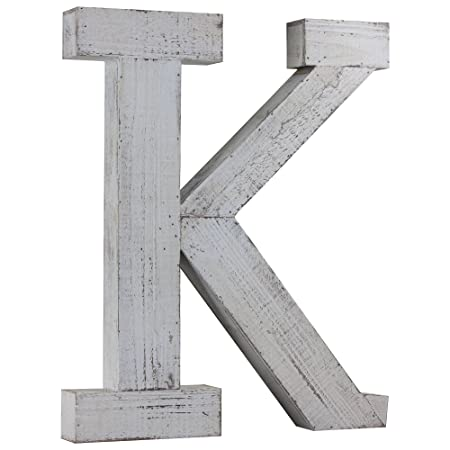 Wood Letter K Vintage Style Whitewashed Rustic Distressed Wooden