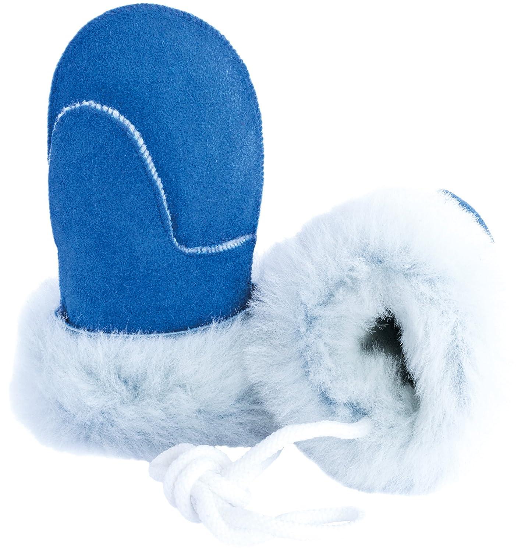 Ciora Baby Luxury Handmade 100% Lambskin Suede Mittens (Bright Blue) With Cord (Medium) - GIFT BOXED