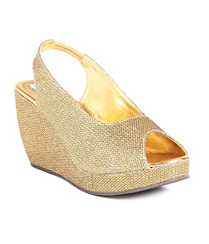 3c20c14020 Do Bhai Women's Golden Faux Leather Wedges: Buy Online at Low Prices ...