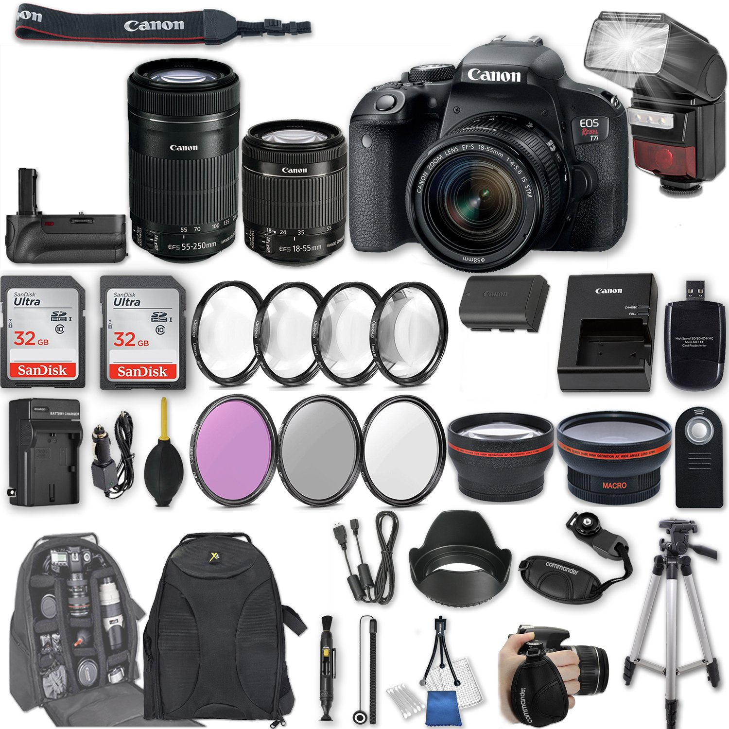 Canon EOS Rebel T7i DSLR Camera with EF-S 18-55mm f/4-5.6 IS STM Lens + EF-S 55-250mm f/4-5.6 IS STM Lens + 2Pcs 32GB Sandisk SD Memory + Automatic Flash + Battery Grip + Filter & Macro Kits + More by Canon
