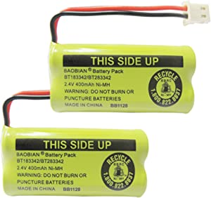 BAOBIAN 2.4V 400mAh Cordless Home Phone Battery for AT&T BT162342 BT-162342 BT166342 BT-166342 BT266342 BT-266342 BT183342 BT-183342 BT283342 BT-283342 VTech CS6329 CS6114 CS6419(Pack of 2)