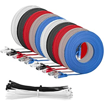 1 meter Multi Coloured5 Pack 15 Cable ties Multi Cable SLIM FLAT 1m Cat6 RJ45 Ethernet Network Patch Lan cable