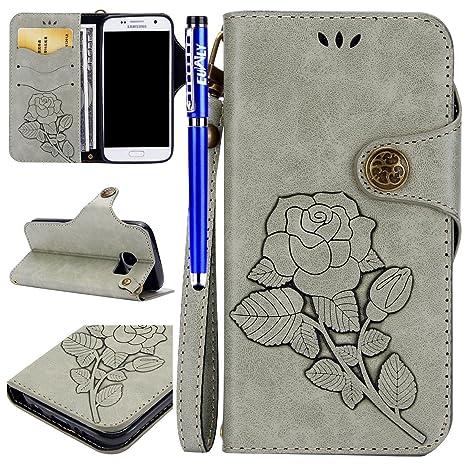 41963e4361e Funda Samsung Galaxy S7 Edge, Samsung Galaxy S7 Edge Carcasa Libro de Cuero  Con Tapa y ...