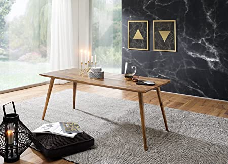 Mesa de Comedor REPA 120 x 60 x 76 cm Sheesham rústica de Madera Maciza. Diseño de casa de Campo Mesa de Comedor. Mesa para Comedor Rectangular. 4-6 Personas: Amazon.es: Hogar