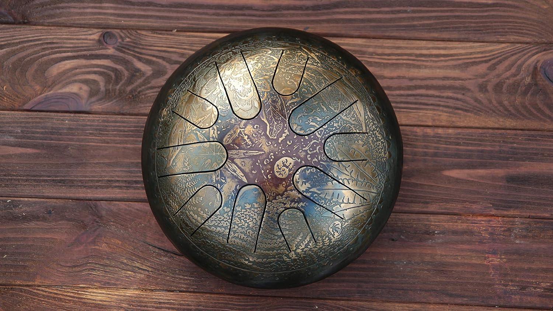 ka Flora Original Art Sacred Music Instrument with harmonic sound Handmade 432 Hz Steel Tongue Drum Ideal drum for traveler yogi.