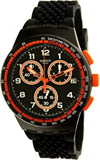 Swatch Mens Nerolino SUSB408 Black Rubber Swiss Quartz Watch