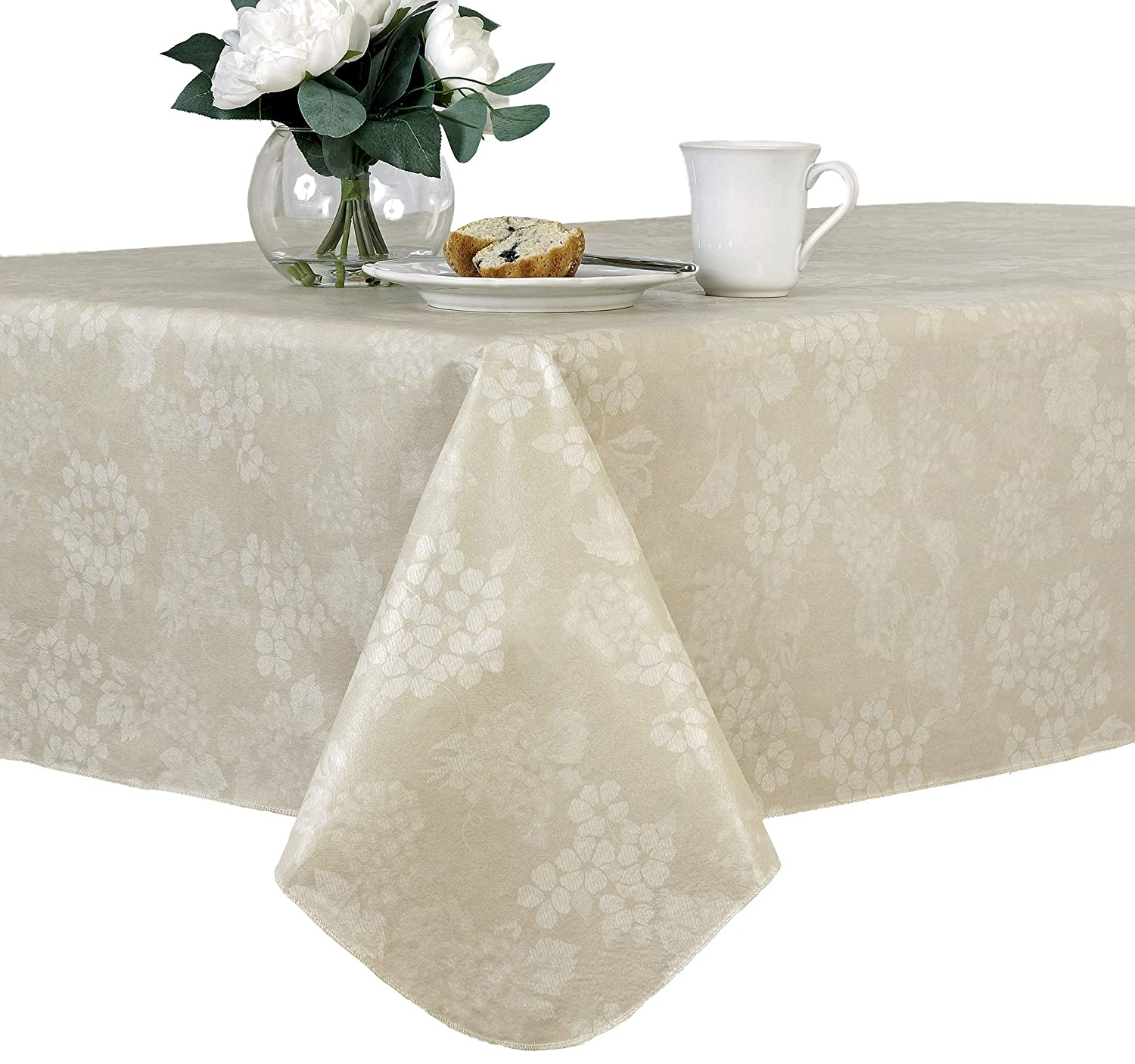 EVERYDAY LUXURIES Grapevine Flannel Backed Indoor Outdoor Vinyl Table Linens, 90-Inch Round Tablecloth, Vanilla