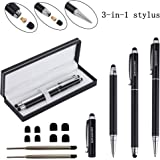 """Stylus,iDream365(TM) 2pcs 3-in-1 Stylus Pen(5.7"""" Length,Stainstainless Steel) for All Capacitive Touch Screen Smartphones,Tablets PC(Extra 2 Refills+8 Rubber Tips) With Gift Box-Black&Silver"""