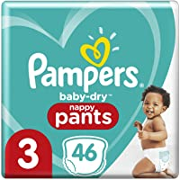 Pampers Baby-Dry Nappy Pants (6kg-11kg) Size 3 Crawler, 46 count