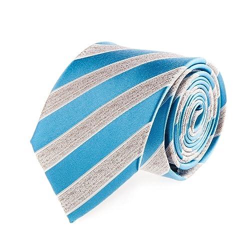 Bugatti Seidenkrawatte Krawatte Seide Schlips Klassisch Gestreift Blau Grau