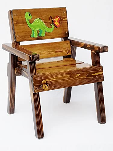 Kids Wooden Chair With Arms, Heirloom Gift, Engraved And Painted Dinosaur  Design, Indoor