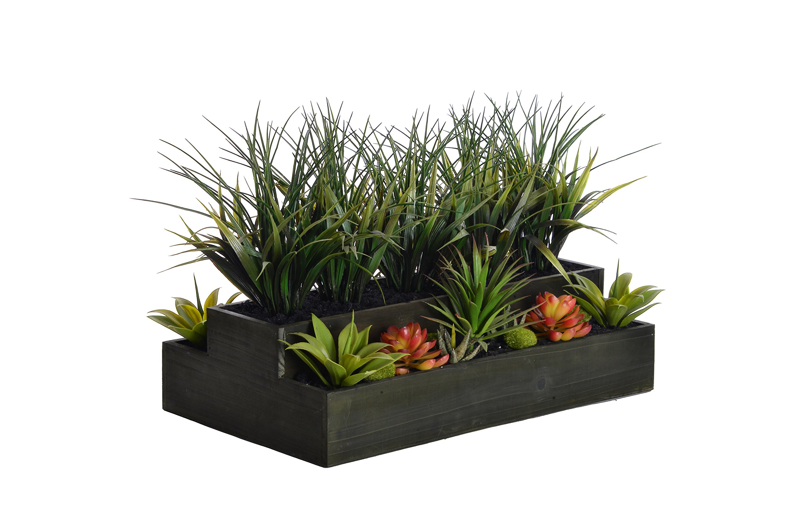 Laura Ashley VHA102440 Plastic Grass Wooden Pot, 26 by 13 by 14''