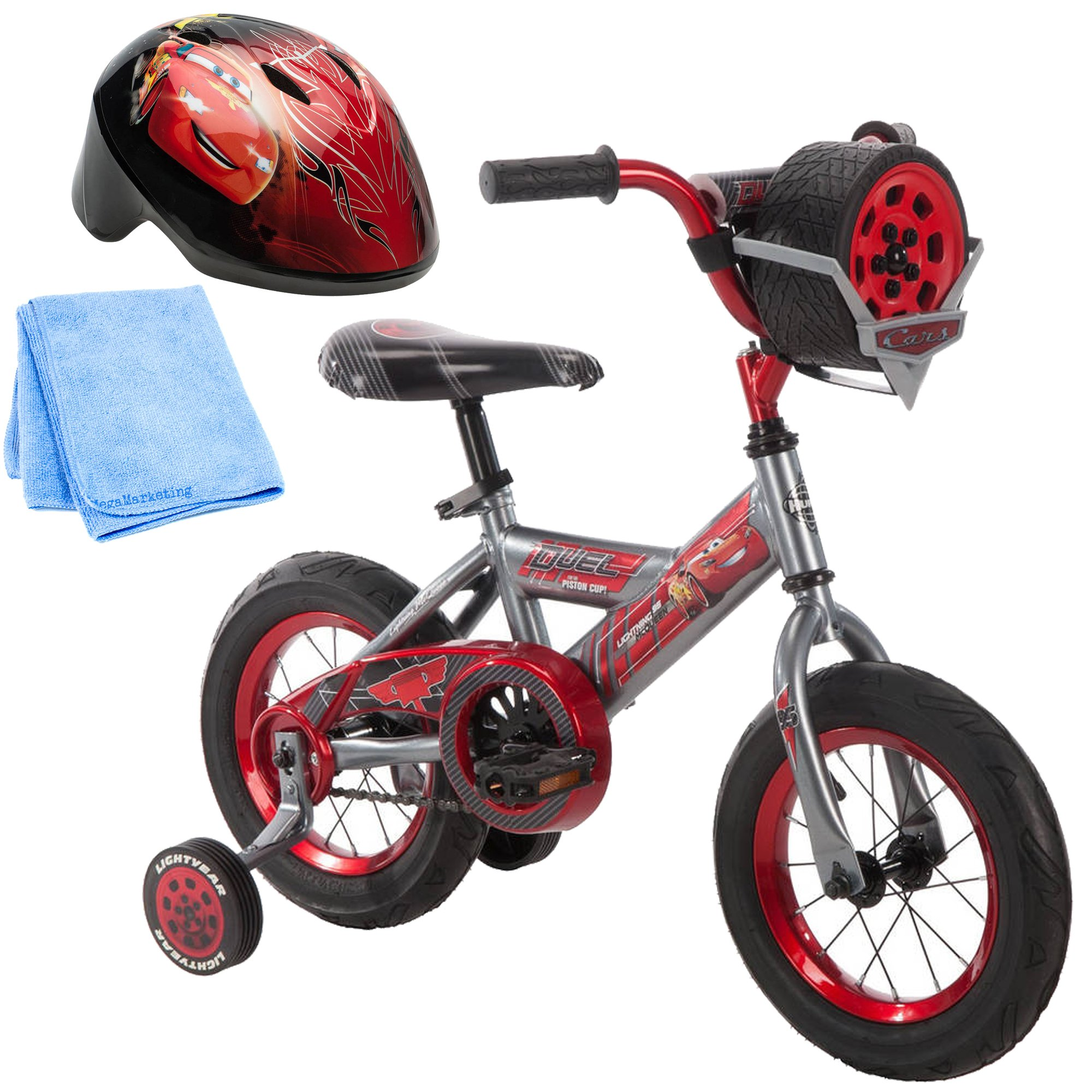 12 Inch Huffy Disney Pixar Cars Boys Kids for Boys with Sounds, Helmet and Cleaner Cloth by Huffy