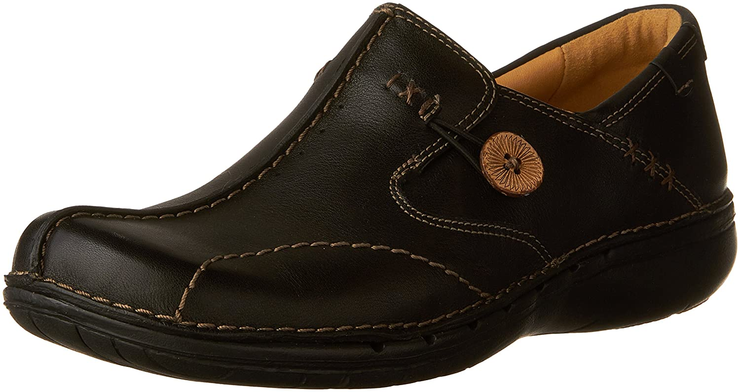CLARKS Unstructured Women's Un.Loop Slip-On Shoe B0015K5PV8 11 N US|Black Leather